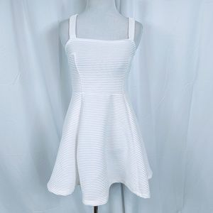 H&M White Ribbed A-line Dress